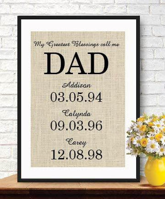 My Greatest Blessings Call Me DAD Family Date Sign-Burlap Print- Gift for Dad Fathers Day - BOSTON CREATIVE COMPANY