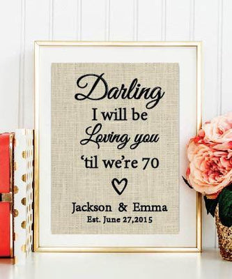 Thinking Out Loud Lyrics Burlap Print | Ed Sheeran Lyrics| Wedding Song Lyrics Valentines Day Gift - BOSTON CREATIVE COMPANY