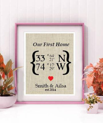 Best Selling Our First Home Latitude Longitude Burlap Sign | Personalized Housewarming Gift - BOSTON CREATIVE COMPANY