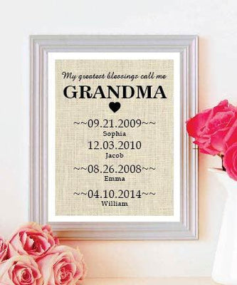 Perfect Gift for Grandmother-Mothers Day Natural Burlap Print-Grandchildren Birth Dates Wall Art - BOSTON CREATIVE COMPANY