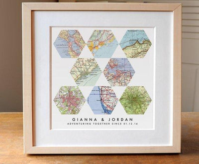 Gift for Couples - Travel Lover - Personalized Map Art