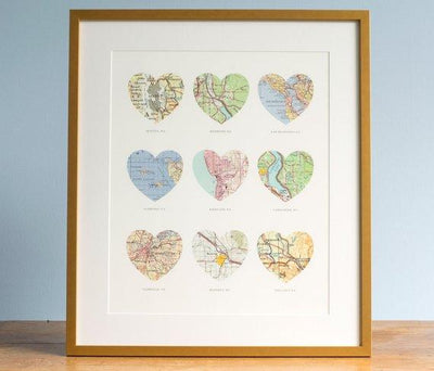 9 Heart Map Print, Wedding Gift Art, Custom Heart Map, Anniversary Gift, 9 maps, Wedding Map Art, Engagement Gift Art - BOSTON CREATIVE COMPANY