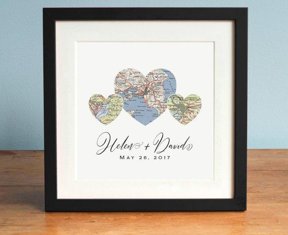 Heart Map Print, Wedding Gift, Gift for Couple, Map Art, Romantic Gift, Anniversary Gift, Engagement Gift - BOSTON CREATIVE COMPANY