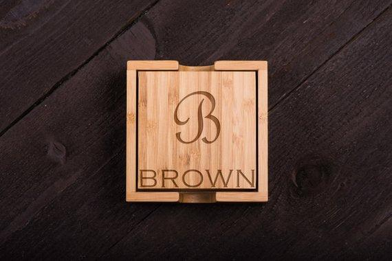 Corporate Gift wooden coaster  - Set of 6 - BOSTON CREATIVE COMPANY