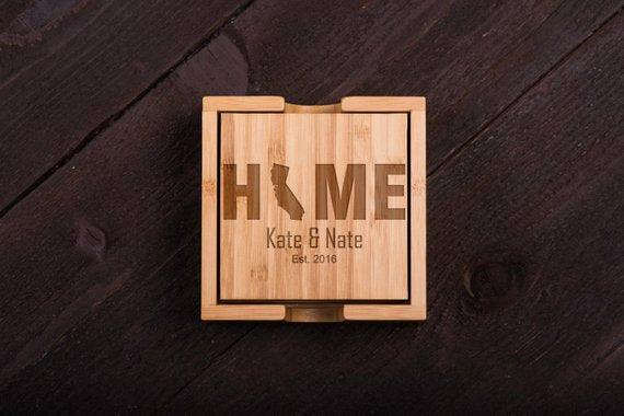 Home California Wooden Coaster Set of 6 - BOSTON CREATIVE COMPANY