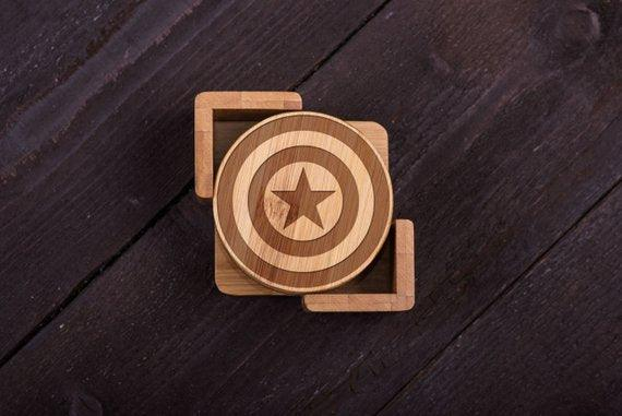 Captain America engraved wooden Coasters - BOSTON CREATIVE COMPANY