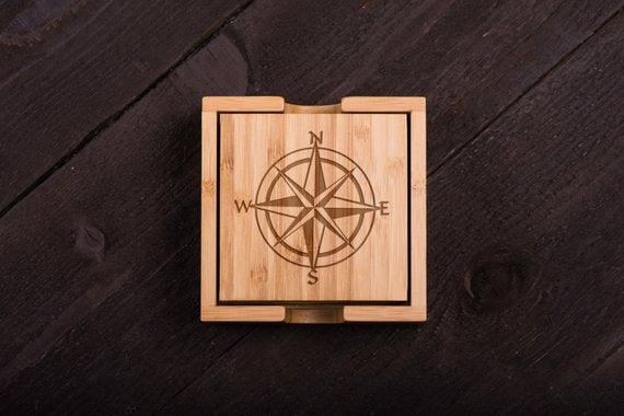 nautical style Wooden Coasters set of 6 - BOSTON CREATIVE COMPANY