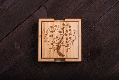 Tree engraved Wood Coasters Set of 6
