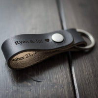 Leathe Key Chain -Customized Keychain, Personalized Keychain, Leather Key Chain, Monogram, Anniversary Engraved keychain - Black - BOSTON CREATIVE COMPANY