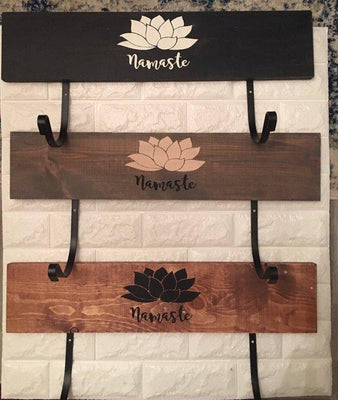 Yoga Gift -Yoga mat holder, wall mounted, yoga gift, yoga decor, Namaste, workout organizer, wood sign, neutral colors, lotus flower, yoga mat storage