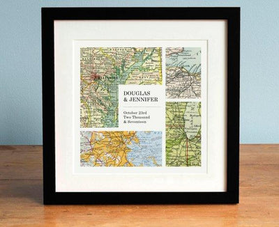 Wedding Gift Art, Modern Grid Personalized Map Art
