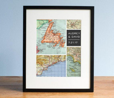 Modern Grid Personalized Map Art, Wedding Gift, Gift for Groom, Gift for Dad, Gift for Uncle, Map Design, Map Art Print - BOSTON CREATIVE COMPANY