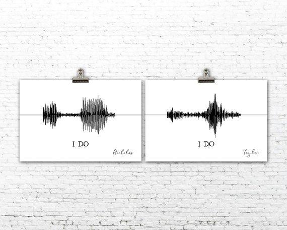 Custom Sound Wave Art Print Anniversary Gift I Do Master Bedroom Decor - BOSTON CREATIVE COMPANY