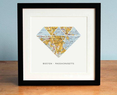 Boston Map Art, Diamond, Boston Art, Map of Boston Massachusetts, Diamond Map Art, Treasure - BOSTON CREATIVE COMPANY