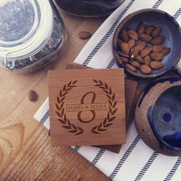 Custom Coaster Set Engraved Initial Established Date - BOSTON CREATIVE COMPANY