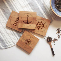 Nautical set wooden Personalized Coasters - BOSTON CREATIVE COMPANY