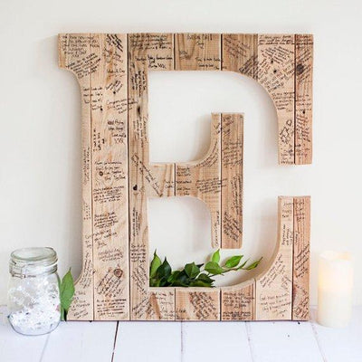 Wedding personalized Guest Book Initial Alternative in wood