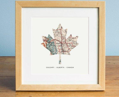 Canada Maple Leaf Map - Map of Calgary, Calgary Alberta Map, Maple Leaf, Canada Map, Gift for Canadian - BOSTON CREATIVE COMPANY