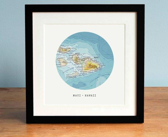 Map of Maui, Hawaii map, Circle Map, Map of Hawaii Framed, Hawaii Gift, Personalized Map Art, Custom Map Art - BOSTON CREATIVE COMPANY