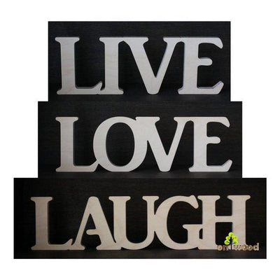 Live Love Laugh sign. Home decor.  Gift. Wooden letters. Wooden word. Free standing sign - BOSTON CREATIVE COMPANY