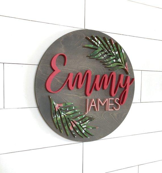 "Leaf Custom Name Sign | 24"" Round Sign 