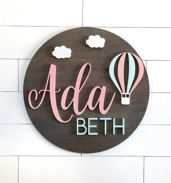 "Baloon Custom Name Sign | 24"" Round Sign 