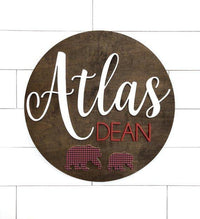 "Bear Custom Name Sign | 24"" Round Sign 