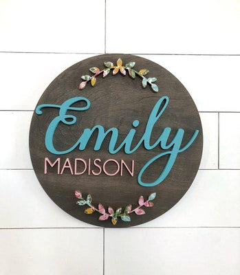 "Olive Custom Name Sign | 24"" Round Sign 