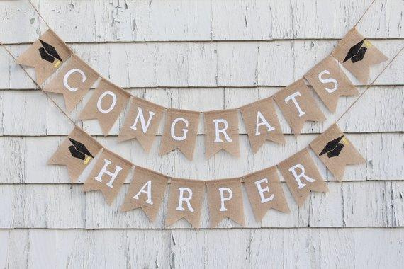 Graduation Burlap Banner, Class of 2018 Bunting Graduation Decor