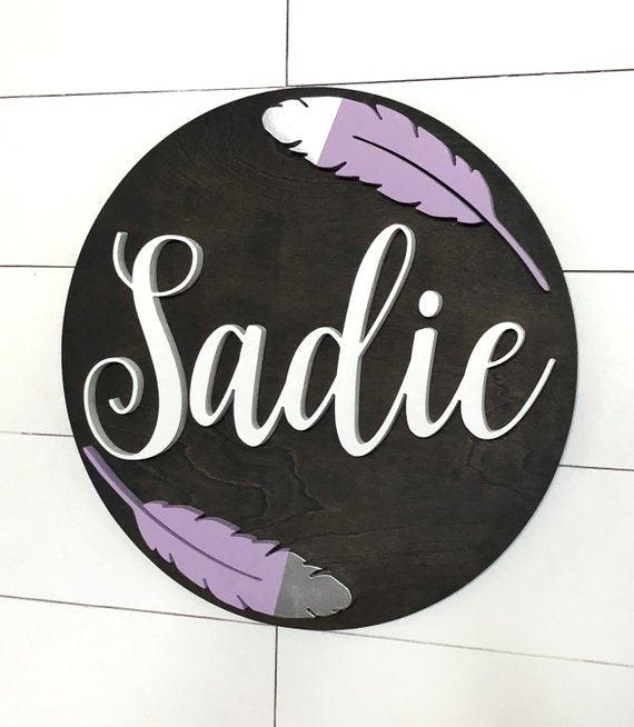 "Feather Custom Name Sign | 18"" Round Sign 