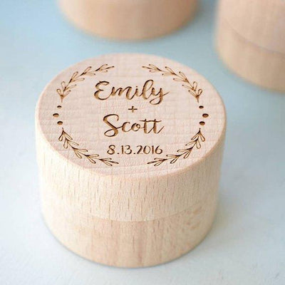 Personalized Round Unique Jewelry Wooden Engraved Ring Box