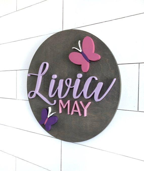 Butterfly Custom Name Sign | 24"