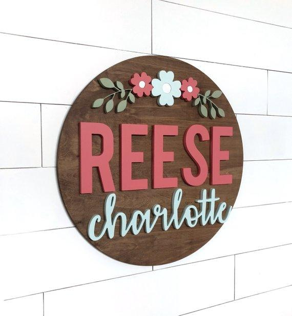 Custom Flower Name Sign | 24"