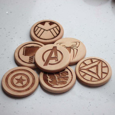 Avengers Round engraved wood coasters - Set of 6 - BOSTON CREATIVE COMPANY