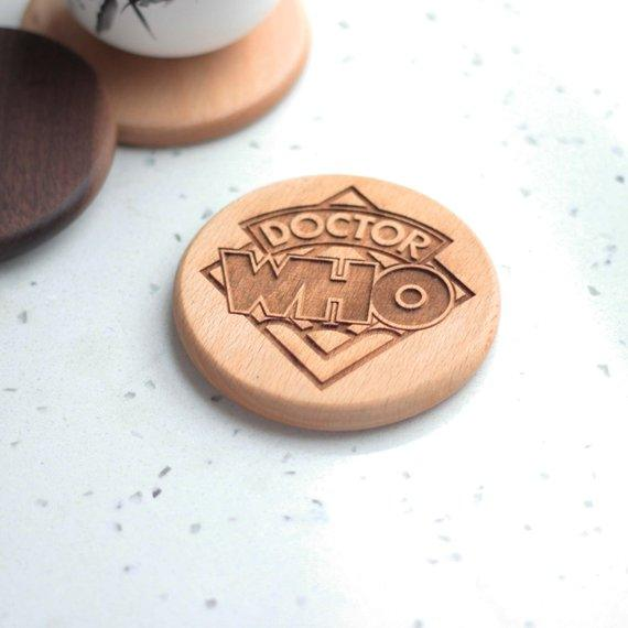 Doctor Who engraved wooden coasters - Set of 6 - BOSTON CREATIVE COMPANY