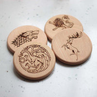 Game of  thrones engrave wooden coasters - Set of 6 - BOSTON CREATIVE COMPANY