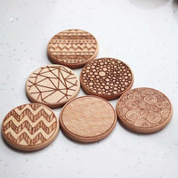 Personalized engraved Wood coasters - set of 6