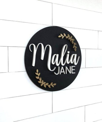 "Olive Custom Name Sign | 18"" Round Sign 
