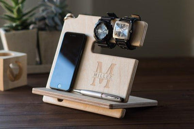 Personalized Docking Station Wooden Phone Stand