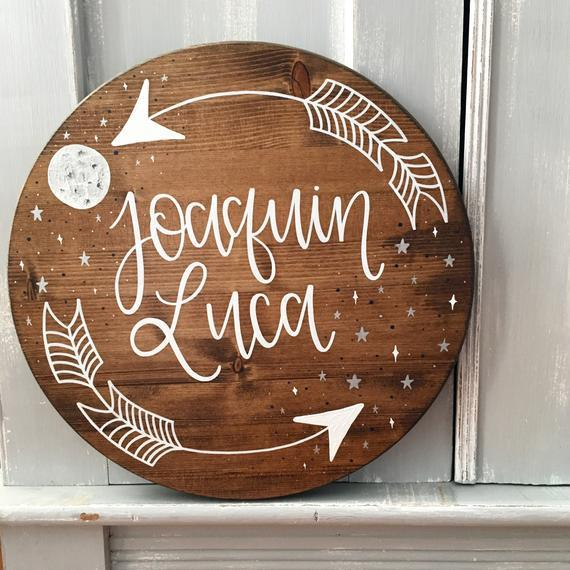 Custom Name Sign - with arrows and starry sky - BOSTON CREATIVE COMPANY