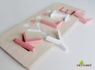 Wooden Name Puzzle - Baby Gifts - Educational Toy - 1st Birthday Gift -  Baptism Christening Gift for Girl - Baby Girl Gift Personalized
