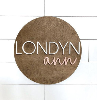 "3D Custom Name Sign | 24"" Round Sign 