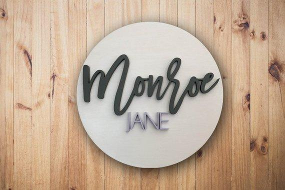 Round Custom  Baby Name Sign