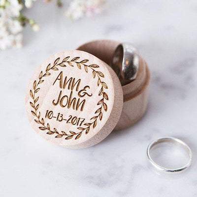 Custom Wedding Handmade Proposal Ring Box | Round Rustic Vintage Wooden Ring Holder | Engagement Personalized Engraved Gift Ring Box