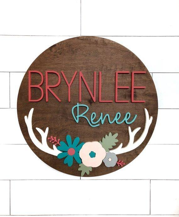 "Antler Custom Name Sign | 24"" Round Sign 