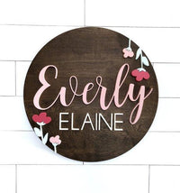 "Floral Custom Name Sign | 24"" Round Sign 