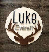 "Custom Name Sign | Round | 24"" Antler 