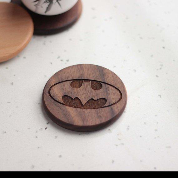 Batman wooden engraved coaster - Set of 6 - BOSTON CREATIVE COMPANY