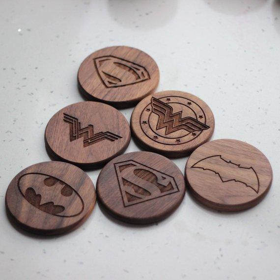 Engraved Wood coasters - Set of 6 - BOSTON CREATIVE COMPANY