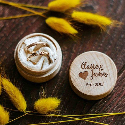 Custom Rustic Round Handmade Engagement Gift Proposal Wooden Ring Box